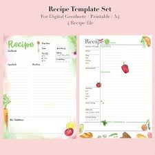 Recipe Journal Template Recipe Binder Recipe Book For Digital Download Recipe