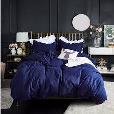 western navy blue bedding set elegant ruffles duvet cover set bed linen quilt cover twin queen king wedding gift houseroom decor blanket set grey and white