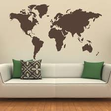 map of the world silhouette wall decal globe