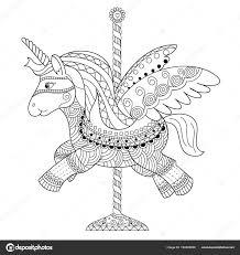 Kleurplaat Boek Van Schattige Unicorn Doodle Style Vector