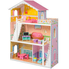 wooden barbie dollhouse furniture. large childrenu0027s wooden dollhouse fits barbie doll house pink with furniture t