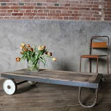 sugden daughters industrial reclaimed oak trolley coffee table