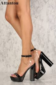 Designer Pvc Heels Us 63 0 37 Off Black Patent Leather With Pvc Designer Bold And Trendy Heels Thick Platform Block Heeled Back Cut Out High Heel Sandals Women In High