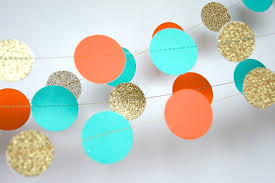 Turquoise Baby Shower Decorations Paper Garland In Turquoise Orange And Gold Double Sided