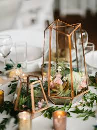 Terrarium centerpiece in mixed metallics (gold, rose gold, and silver) with  small