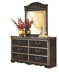 Ashley Coal Creek 6 PC E King Storage Bedroom Set with Two Nightstand & Chest in Dark Brown