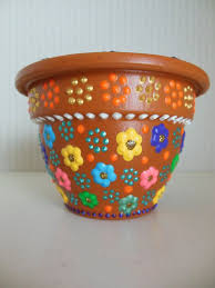 hand painted flower pot with small fl design