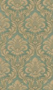 Satintapete Rasch Textil Barock Grün Gold Glanz 515084