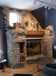 image of natural stone fireplace design