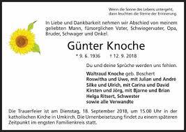 Günter Knoche Trauer Traueranzeigen Nachrufe Badische Zeitungde