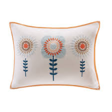 laila embroidered oblong cotton lumbar pillow