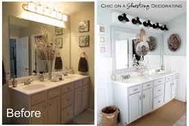 Beachy Bathroom Light Fixtures Chic On A Shoestring Decorating Beachy Bathroom Reveal