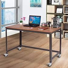 Office table with wheels Drawer Tangkula Computer Desk Wood Portable Compact Simple Style Home Office Study Table Writing Desk Workstation Amazoncom Desk On Wheels Amazoncom