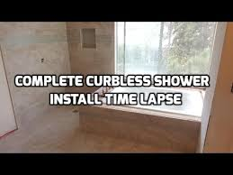 complete curbless shower floor install arc pan time lapse