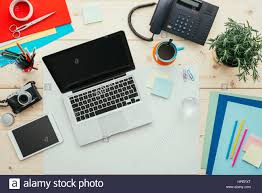 creative office supplies. Creative Contemporary Desktop With Laptop, Digital Tablet, Camera And Office Supplies, Top View Supplies C