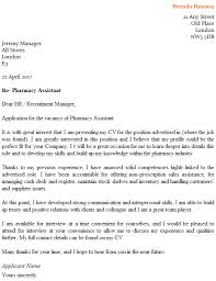 Pharmacy Assistant Cover Letter Example Icover Org Uk