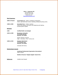 High School Student Resume Template For College Good College