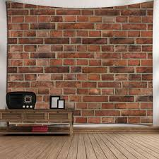 Microfiber Wall Hanging Brick Wall Pattern Tapestry - BRICK RED W79 INCH *  L71 INCH