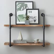 Wall furniture shelves Corner Amazoncom Ok Furniture 2tier Vintage Industrial Pipe Wall Shelf Rustic Pipe Bracket For Shelves Vintage Brown Home Kitchen Amazoncom Amazoncom Ok Furniture 2tier Vintage Industrial Pipe Wall Shelf