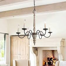 Image Late Laluz Lights French Country Shabby Chic Chandelier In Distressed Retrowhite Resin Faux Wood Ebay Laluz Lights French Country Shabby Chic Chandelier In Distressed