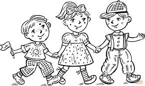 Small Picture Coloring Pages Children Boys And A Girl Celebrating Coloring Page