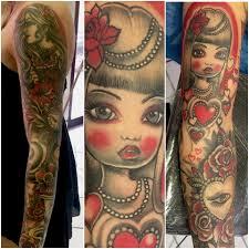 Braccio Intero Tatuaggio In Rosso E Nero Good Mornink