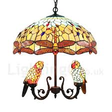 tiffany chandelier handmade rustic retro glass parrot and orange dragonfly glass shade bedroom living rroom dining