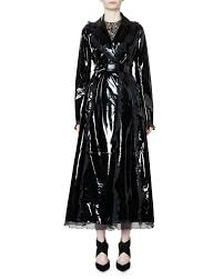lanvin belted patent leather trench coat w ruffle trim black
