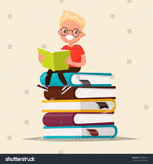 boy with gles reading a book sitting on a stack of textbooks vector ilration of