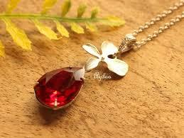 garnet red crystal cz flower pendant silver necklace