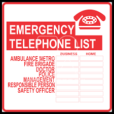 Emergency List M076 Emergency Contact List Sign