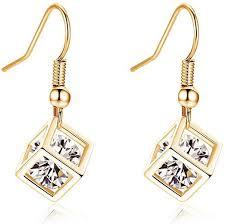 Fashion Shiny Rhinestone Cube Dangle Earrings ... - Amazon.com