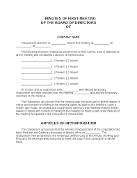 board of directors minutes of meeting template minutes of first board of directors meeting form hashdoc