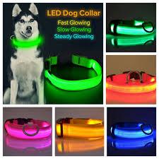 Blinking Lights For Dogs Led Light Up Dog Collar Pet Night Safety Bright Flashing Adjustable Nylon Leash