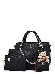 Buy 3Pcs Women's Handbag <b>Fashion</b> Solid Color <b>Crocodile Pattern</b> ...