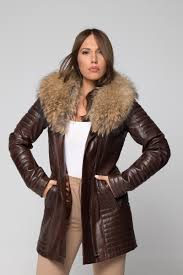 women s leather coat with removable fox fur collar