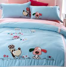 character embroidered dog bed sets kid teenfull queen king cotton single double bedclothes flat dog duvet