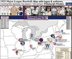 Mlb Chart Standings 1925 Major League Baseball Map With Logos Uniforms