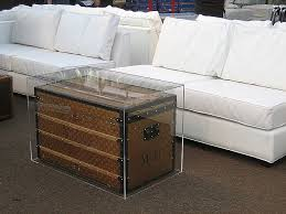 baggage cart coffee table elegant antique trunk used as a coffee table inventive plexiglass cover