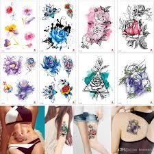Acquista Acquerellato Fiore Di Prugna Fiore Tatuaggi Temporanei