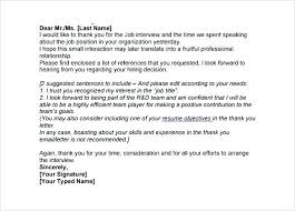 Sample Interview Thank You Letter Template Job This Email Begins
