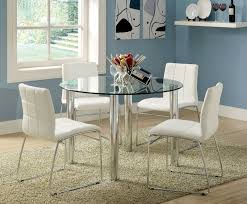 furniture of america cm8320t wh 5 pc kona 45 round glass dining table set