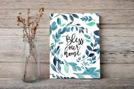 welcome wreath printable art blue welcome foyer wall art decor bless our home print welcome printable on bless our home wall art with bless our home printable heart of life design