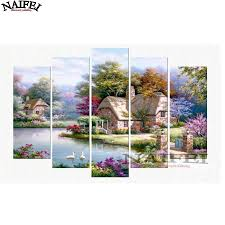 diy full square 5d diamond painting cross stitch lake house natural scenery diamond embroidery mosaic sticker home decor y18102009 with 137 03 piece