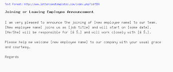 new employee announcement joining or leaving employee announcement