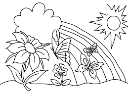 Small Picture happy flowers with sun and rainbow for coloring Flower Coloring