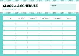 Design Schedule Template Blue Simple Class Schedule Schedule Design Class Schedule