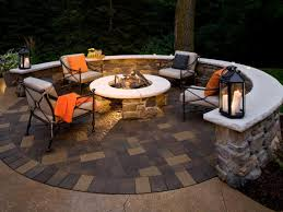 warm paver patio with fire pit