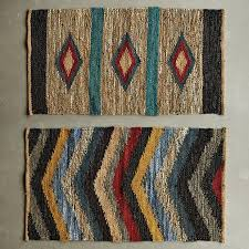 leather and jute chindi rug set of 2