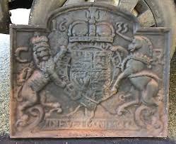 cast iron fireback. Antique Cast Iron Fireback Backplate 1635 Coat Of Arms UK Unicorn Lion Back